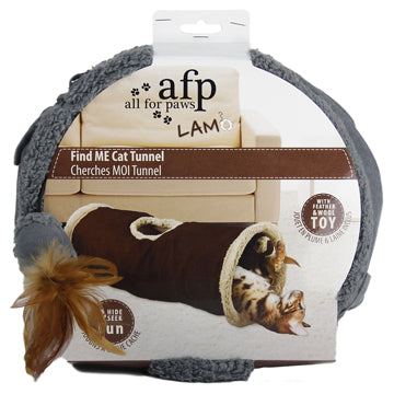 All for Paws Lamb Find Me Cat Tunnel, Assorted (Brown/Grey/Tan)