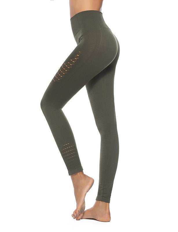 Womens High Waisted Seamless Leggings Hollow Out Yoga Pants