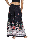 Women's Boho High Waist Side Slit Wide Leg Pants