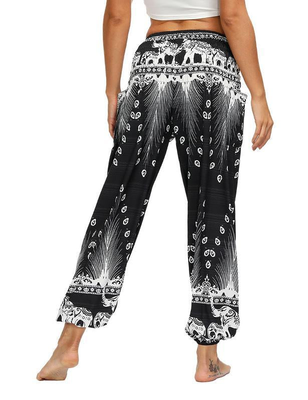 Women's Comfy Bohemian Tapered Elephant Harem Pant