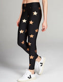 Women's Star Foil Printed High-Waisted Leggings