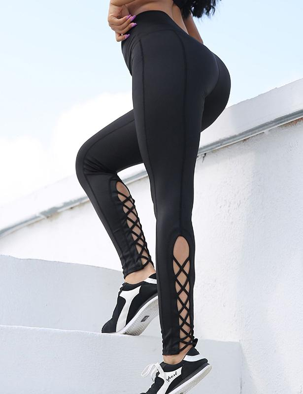 Black Leggings for Women Workout Lace Up