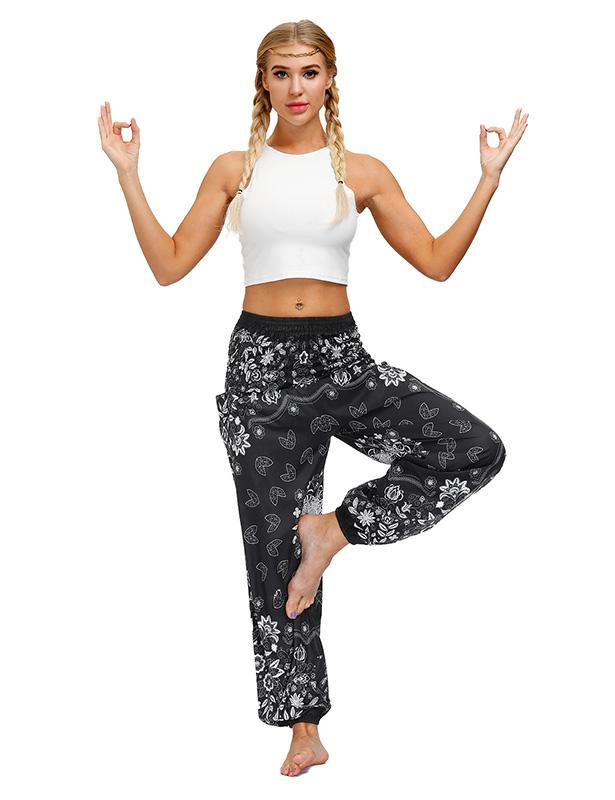 Harem Hippie Pants for Women's Yoga Boho with Pocket