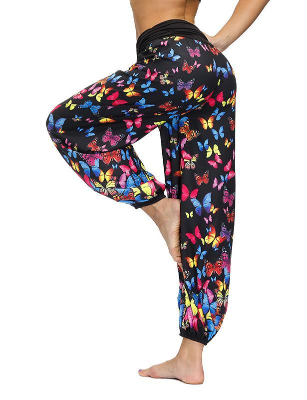 Women's Comfy Butterfly Print Tapered Harem Pants