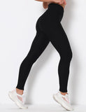 High Waisted Hairline Finish Solid Yoga Leggings