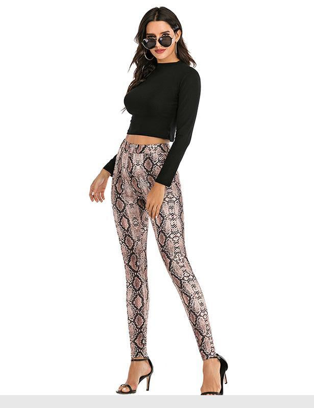 Women's High Waisted Snake Print Pattern leggings
