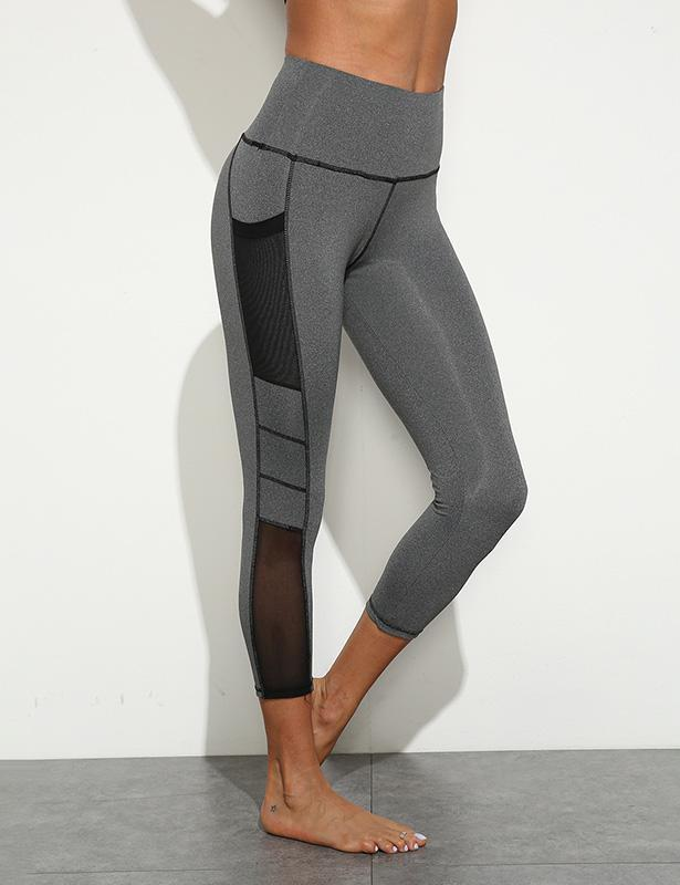 High Waisted Leggings with Mesh Pocket