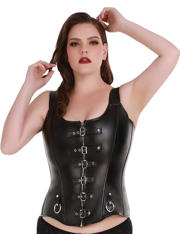 Gothic Faux Leather Corset with Buckles