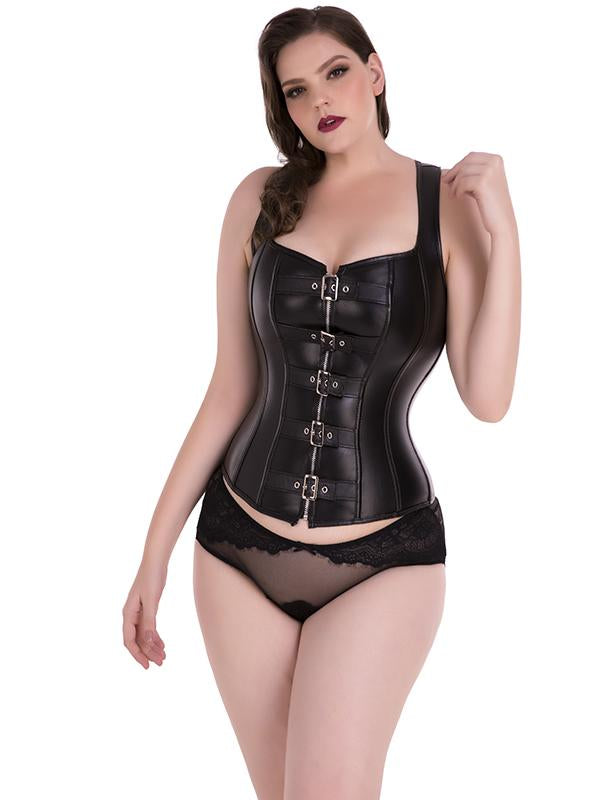 Faux Leather Corset Top with Buckles