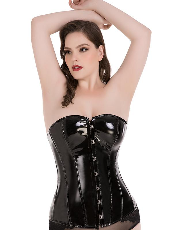 Black PU Overbust Corset with G-string
