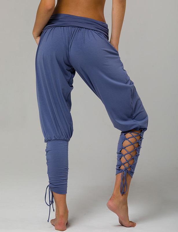 Solid Color Harem Pants for Women Lace Up