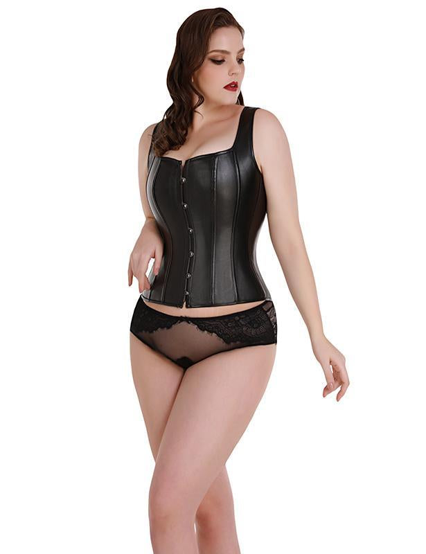 Faux Leather Buckle Corset Vest