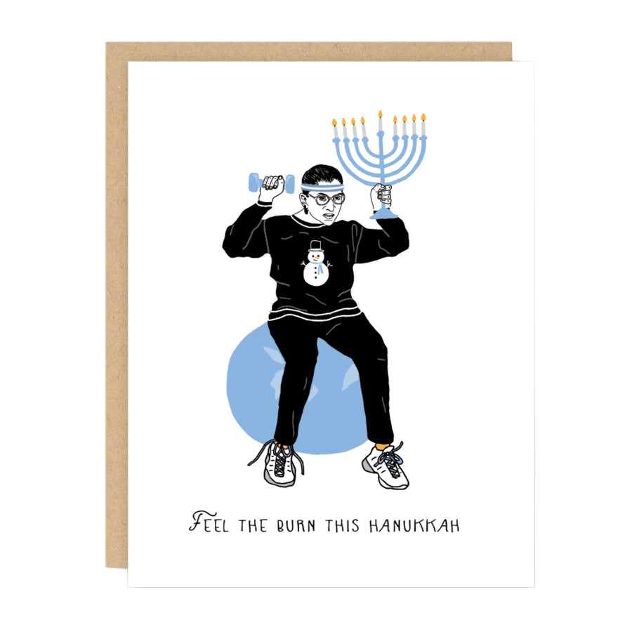 Ruth Bader Ginsburg Feel the Burn Hanukkah Card