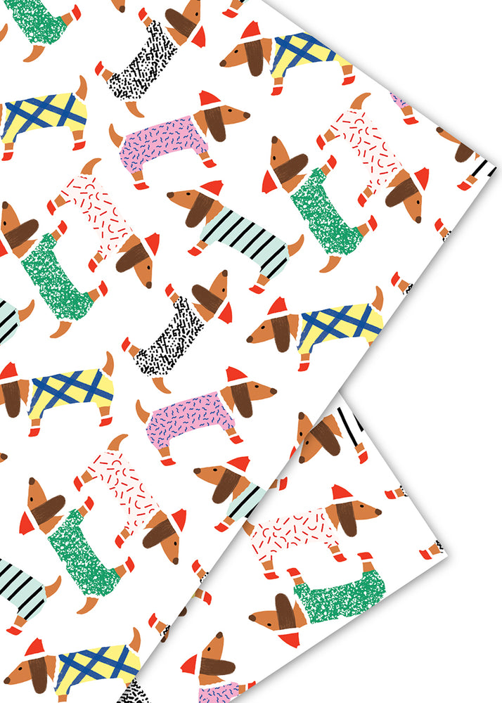Dachshunds Holiday Gift Wrap Sheet