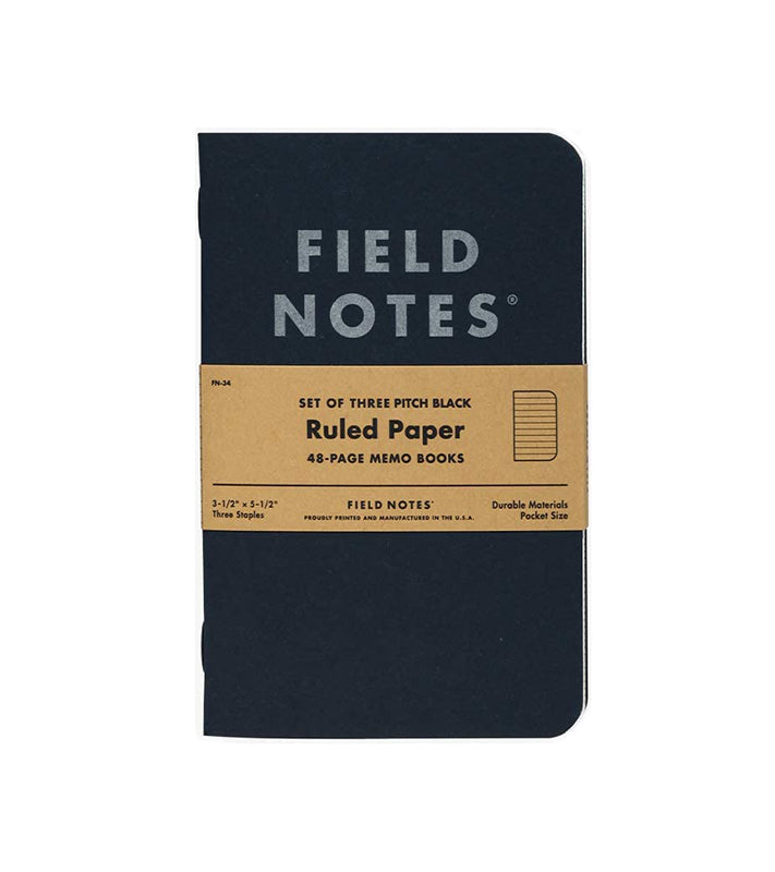 Pitch Black Lined Memo Books