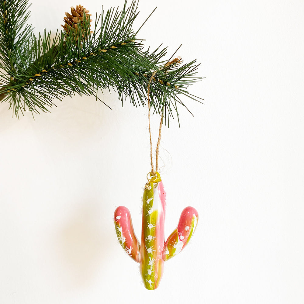 Glass Cactus Ornament - Green + Pink