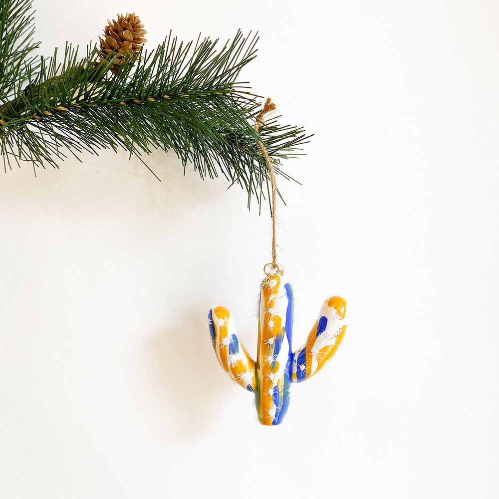 Glass Cactus Ornament - Yellow + Blue