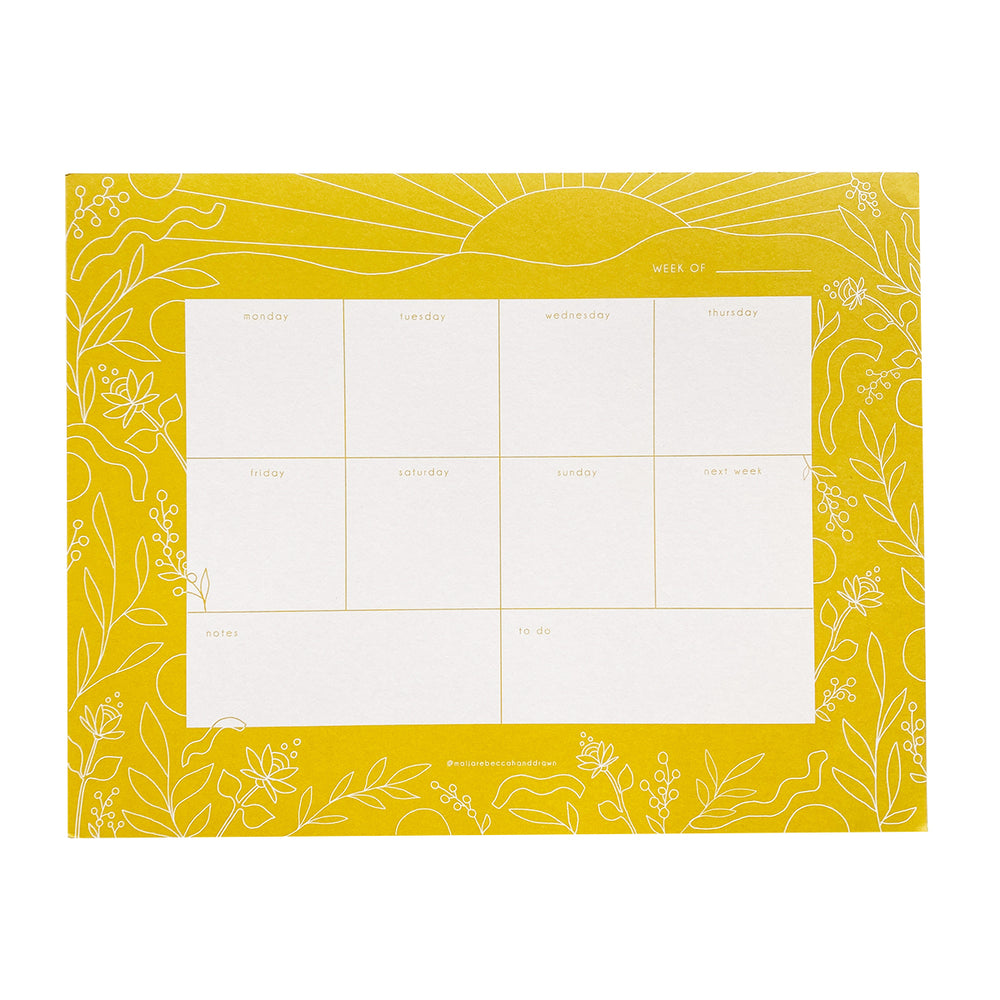 Golden Sun Weekly Planner Notepad