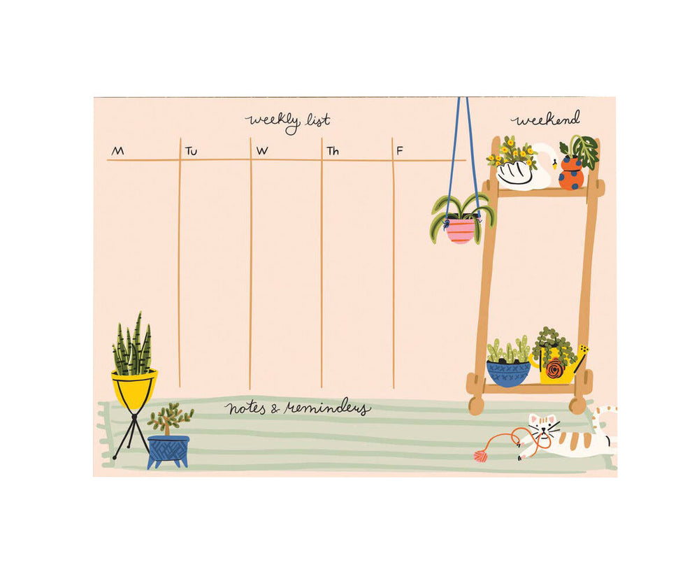 Houseplants Weekly Planner Desk Notepad