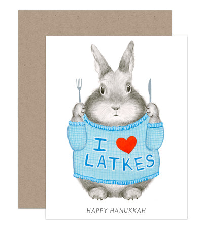 I Love Latkes Hanukkah Card