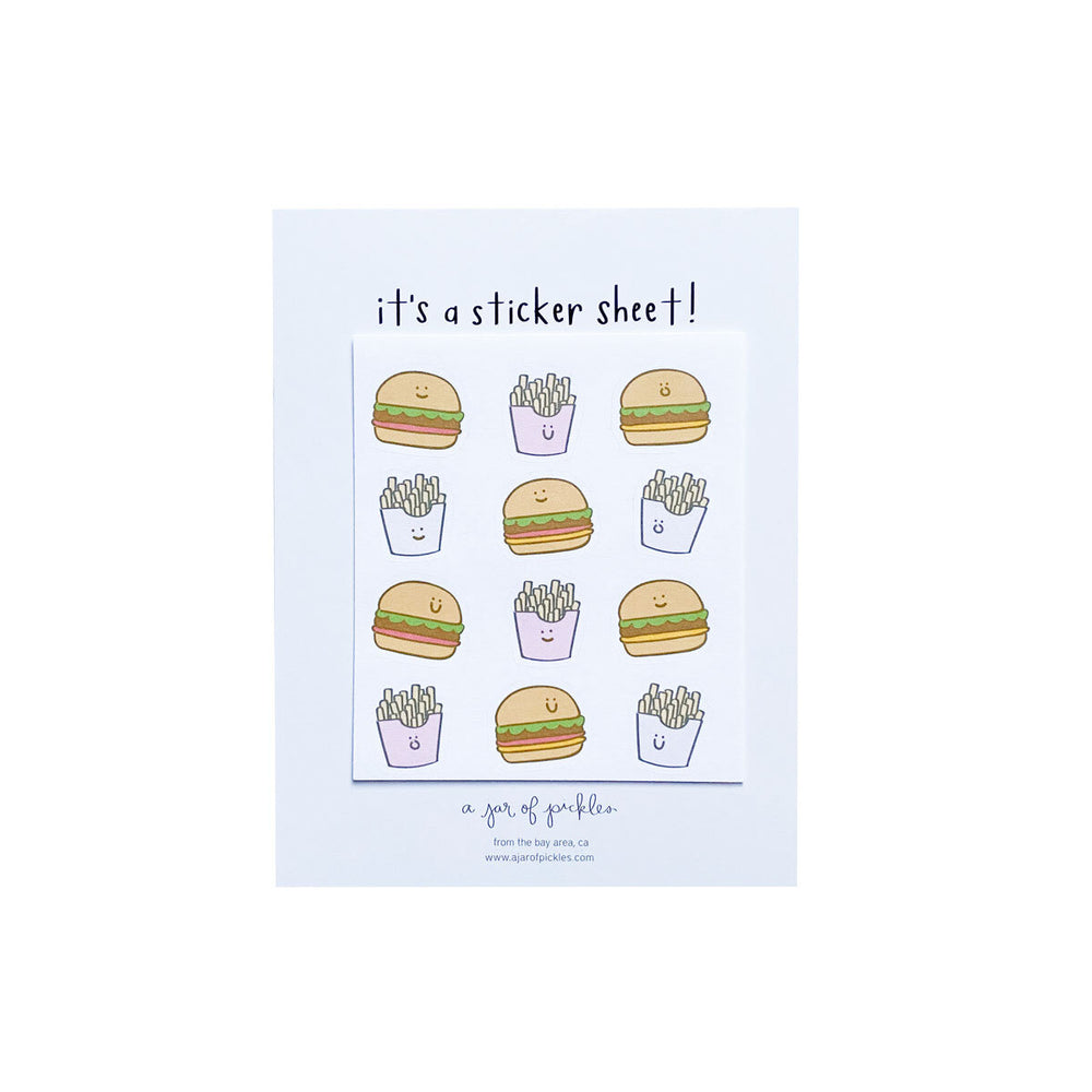 Happy Burgers and Fries Mini Sticker Sheet - M.Lovewell