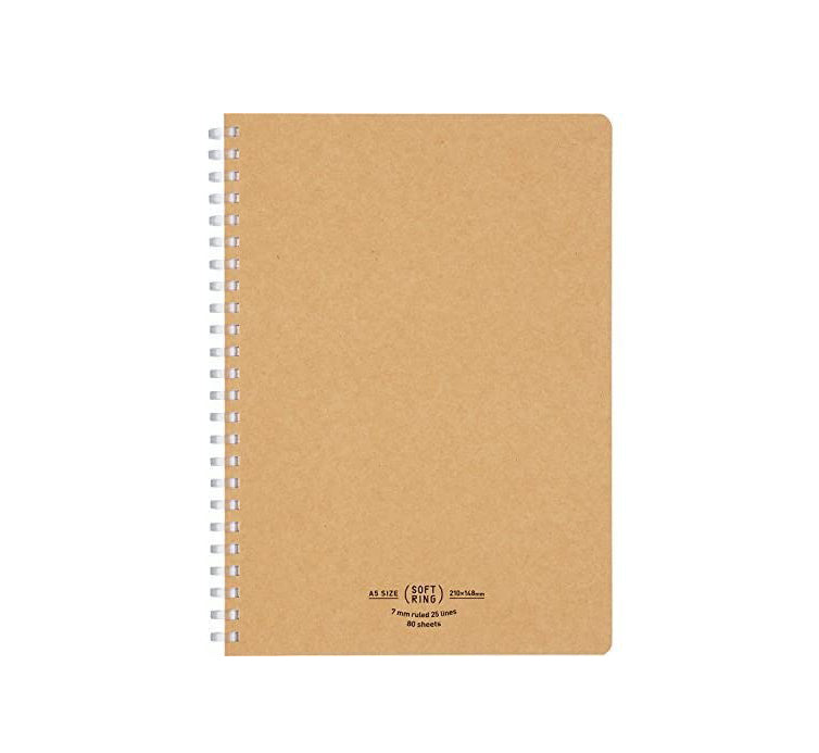 Soft Ring A5 Lined Notebook - Kraft