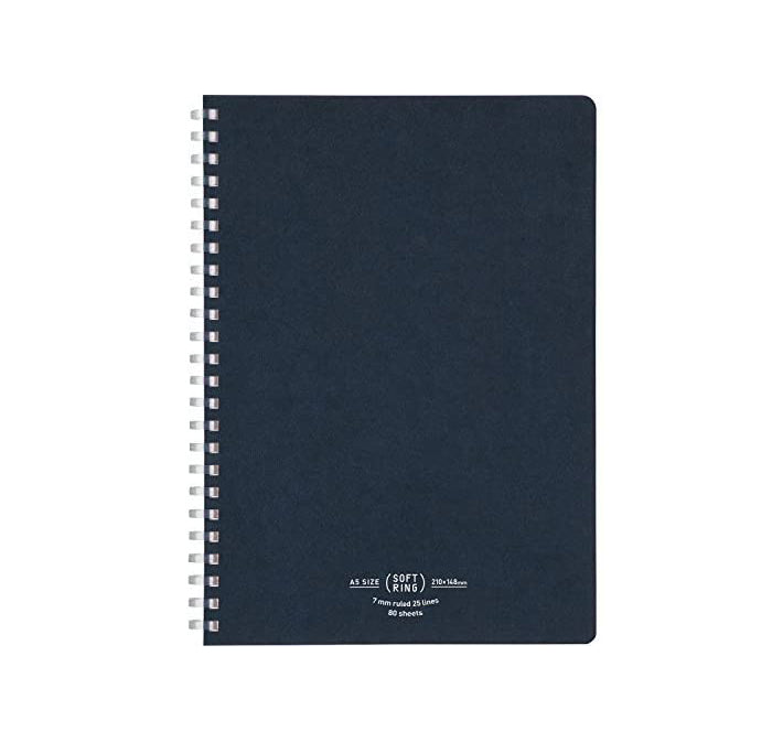 Soft Ring A5 Lined Notebook - Navy Blue