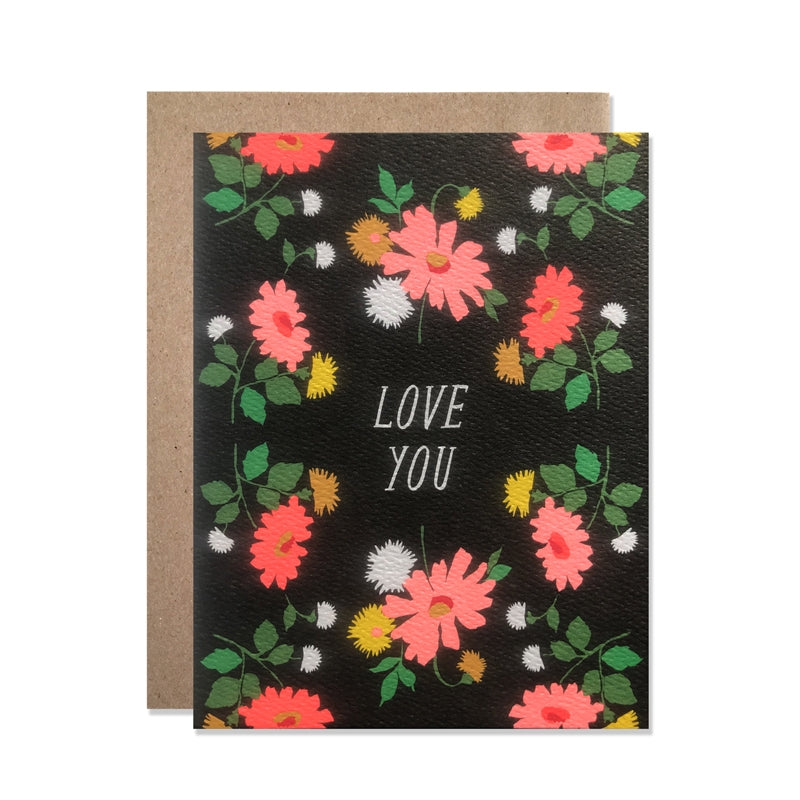 Love You Dark Florals and Neon Daisies Card