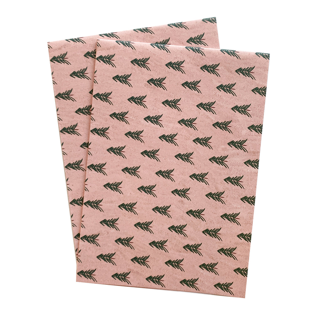 Pink Trees Holidays Gift Wrap Sheets Set of 2