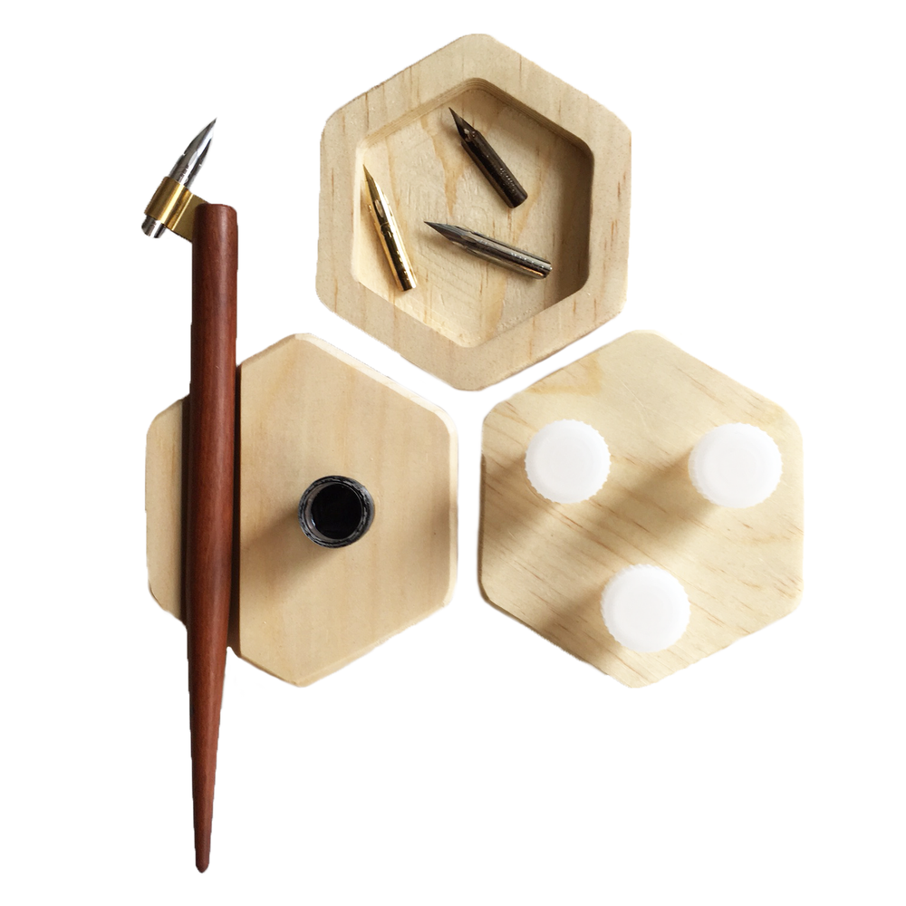 M.Lovewell Hexagon Calligraphy Supply Tray Set