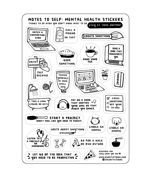 Mental Health Sticker Sheet Stay At Home Edition