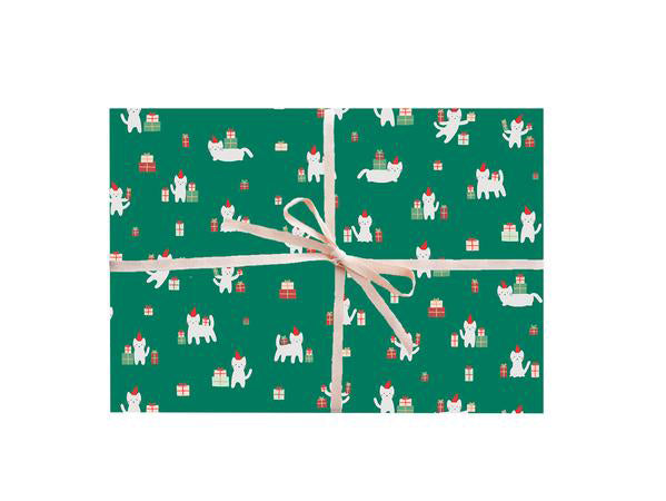 Meowy Christmas Cat Gift Wrap Sheet