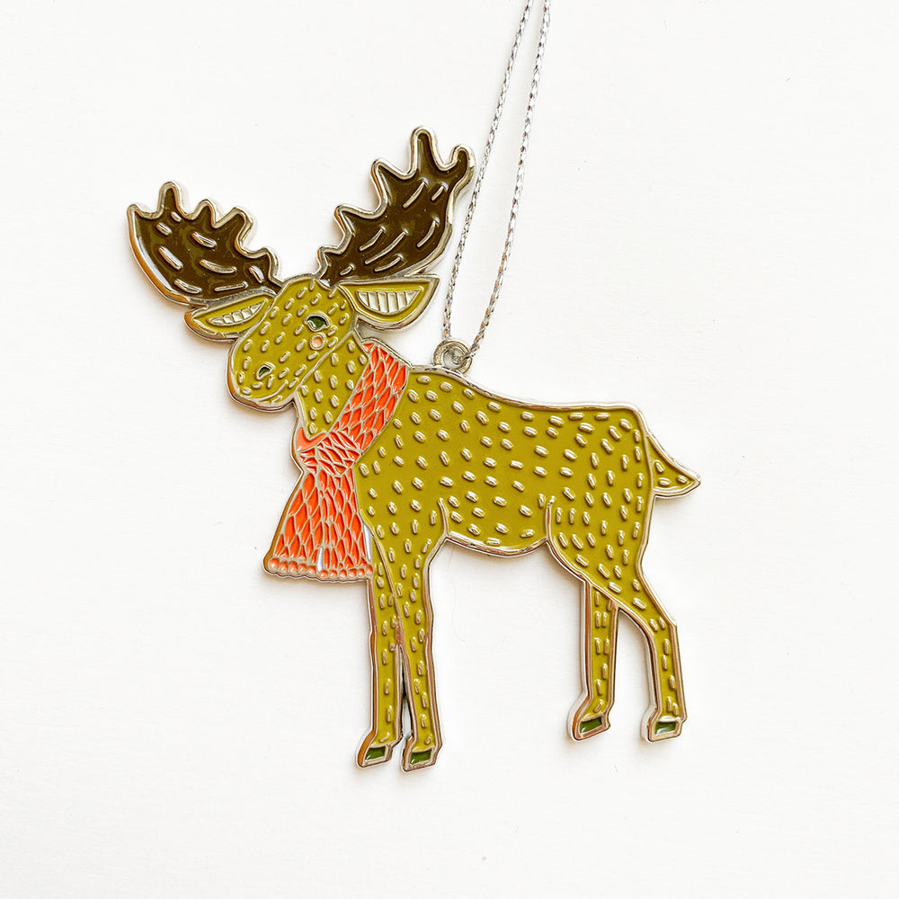 Enamel Merrily Moose Ornament
