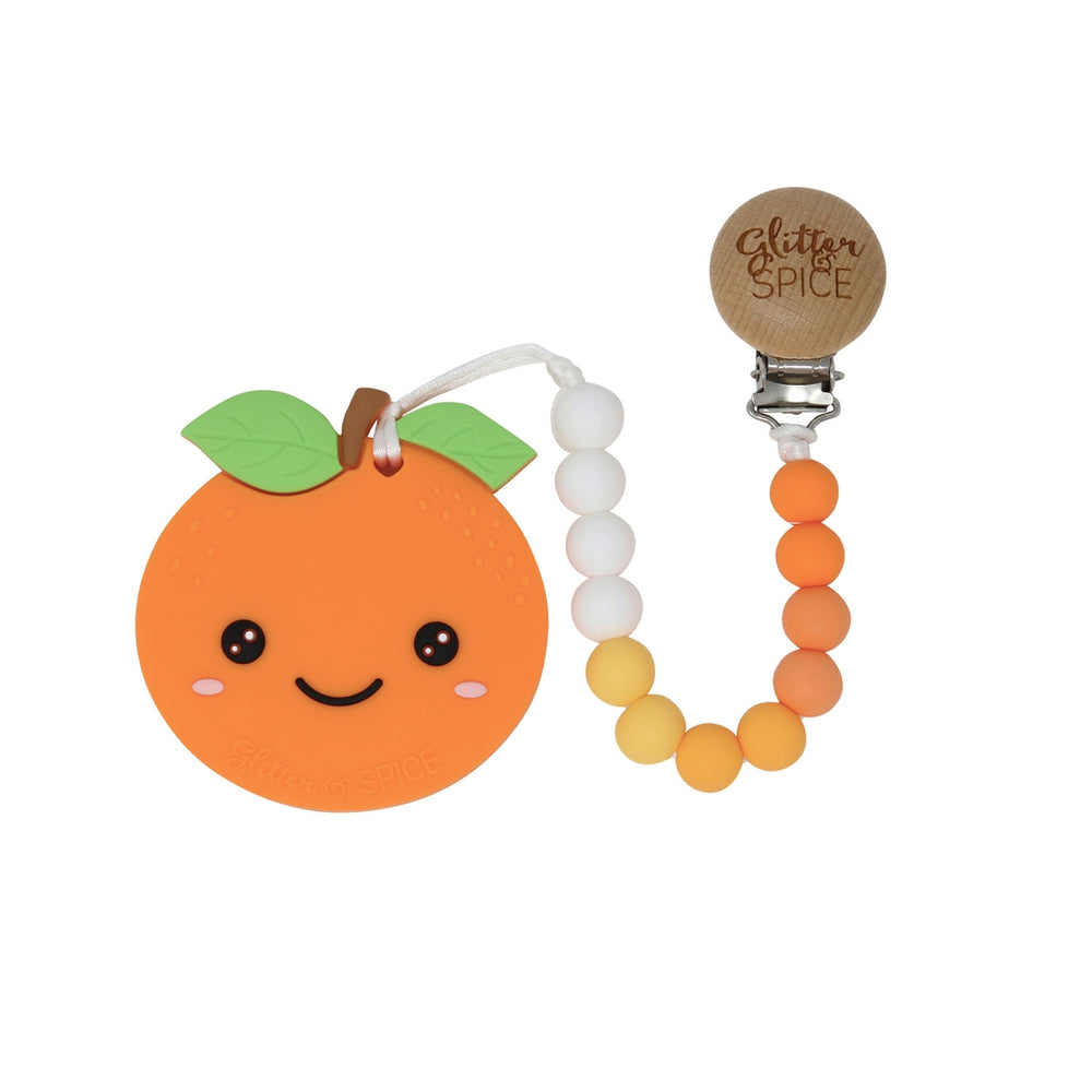 Orange Teether with Clip