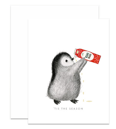 Penguin Chugging Eggnog Card
