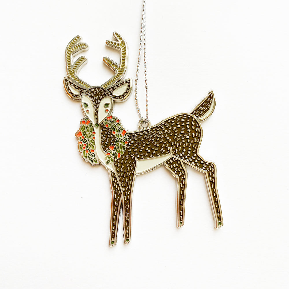 Enamel Merrily Deer Ornament