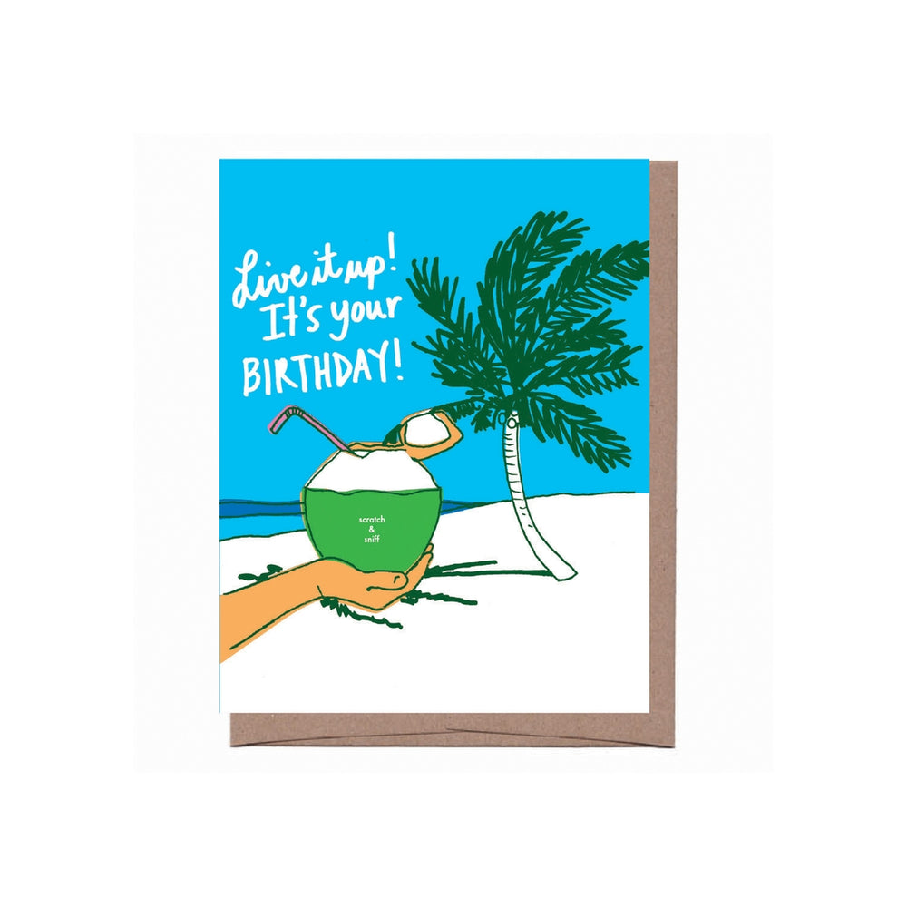 Scratch & Sniff Coconut Drink Birthday Card