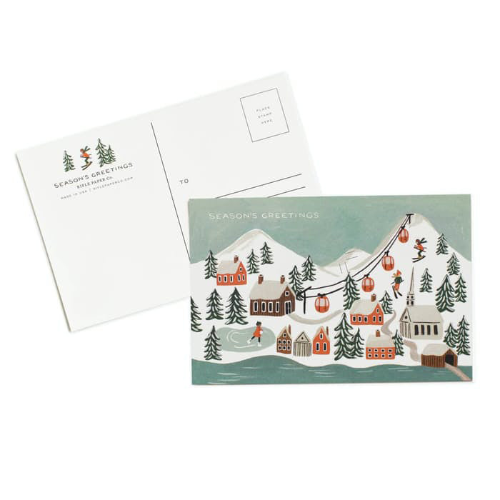 Season's Greetings Snowy Village Postcard Set