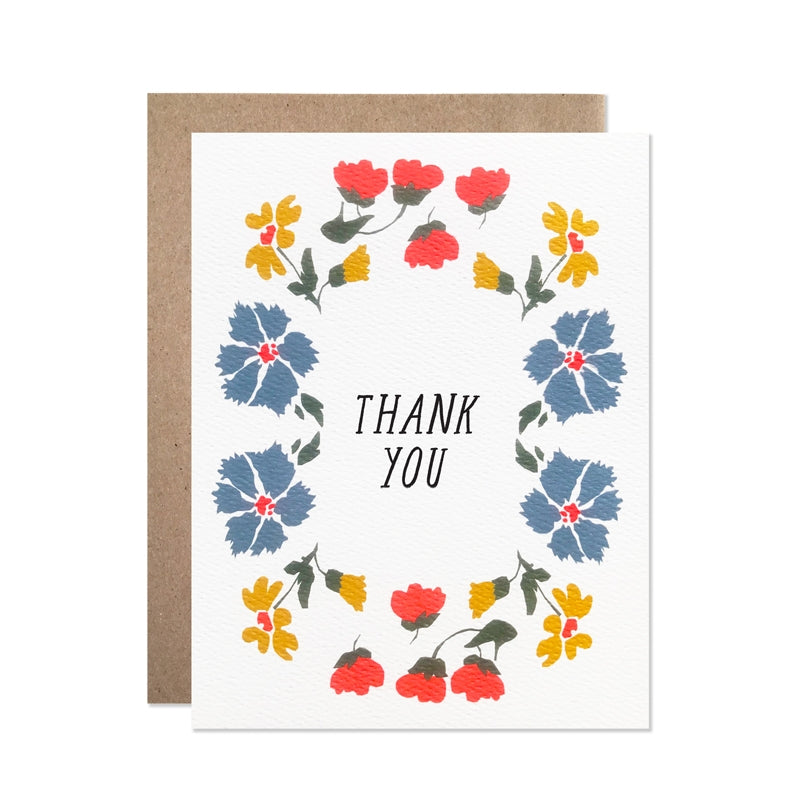 Thank You Cornflower and Neon Flowers Boxed Card Set of 8