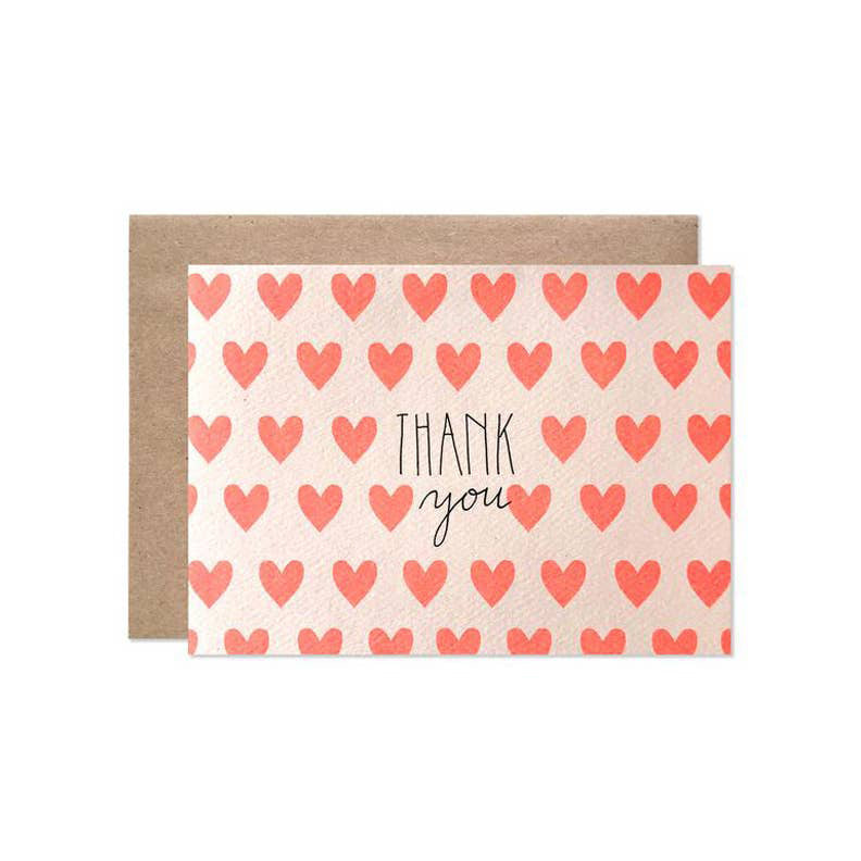 Neon Hearts Thank You Boxed Card Set of 8