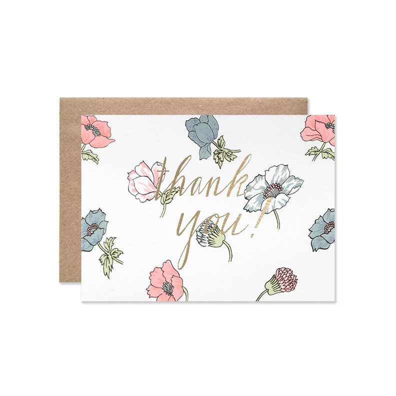 Neon Poppies Thank You Boxed Card Set of 8