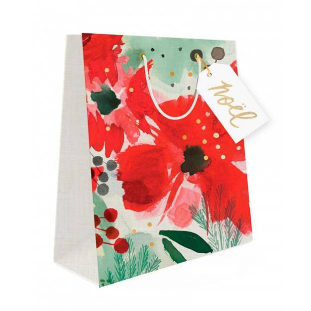 Watercolor Holiday Florals Gift Bag