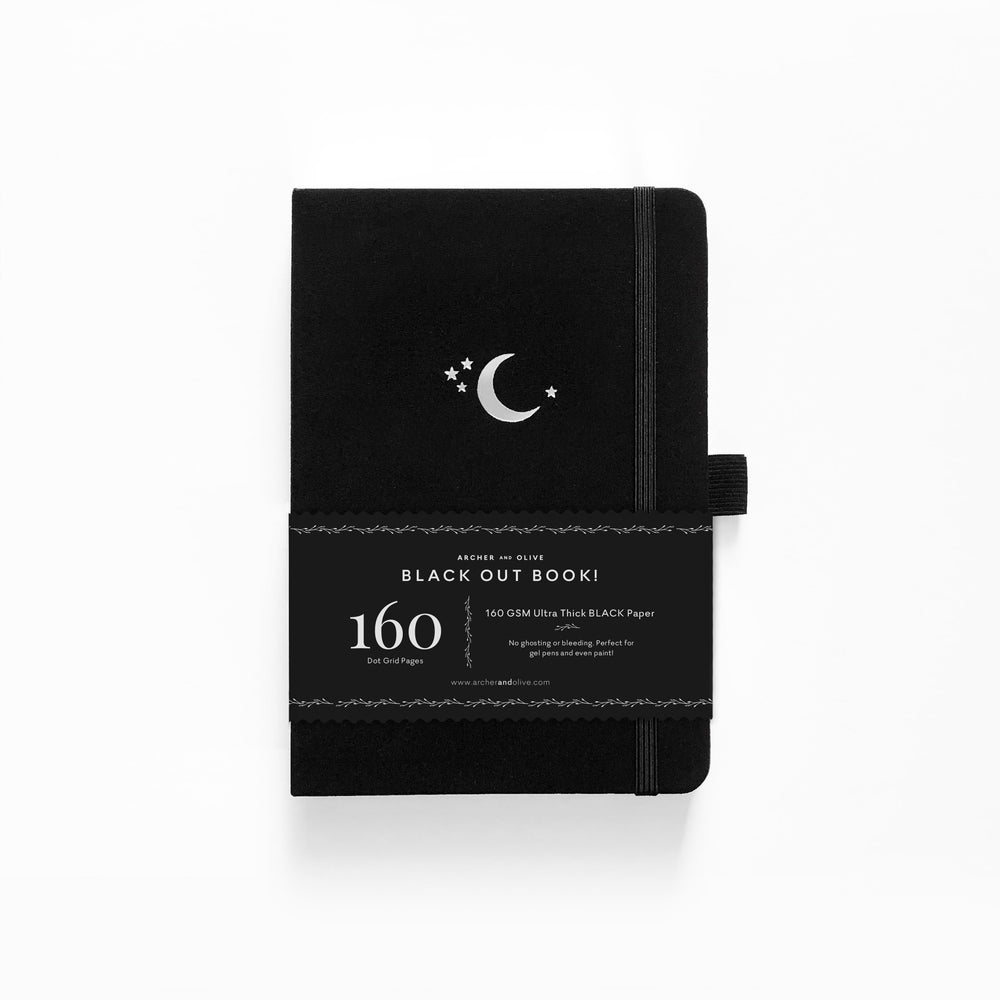 Archer & Olive Blackout Notebook - Silver Crescent Moon - M.Lovewell