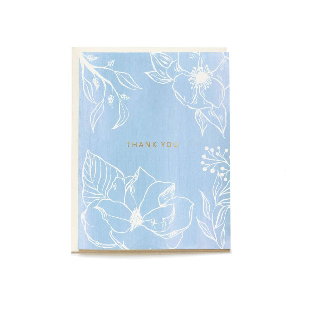 Blue Floral Thank You Card - M.Lovewell