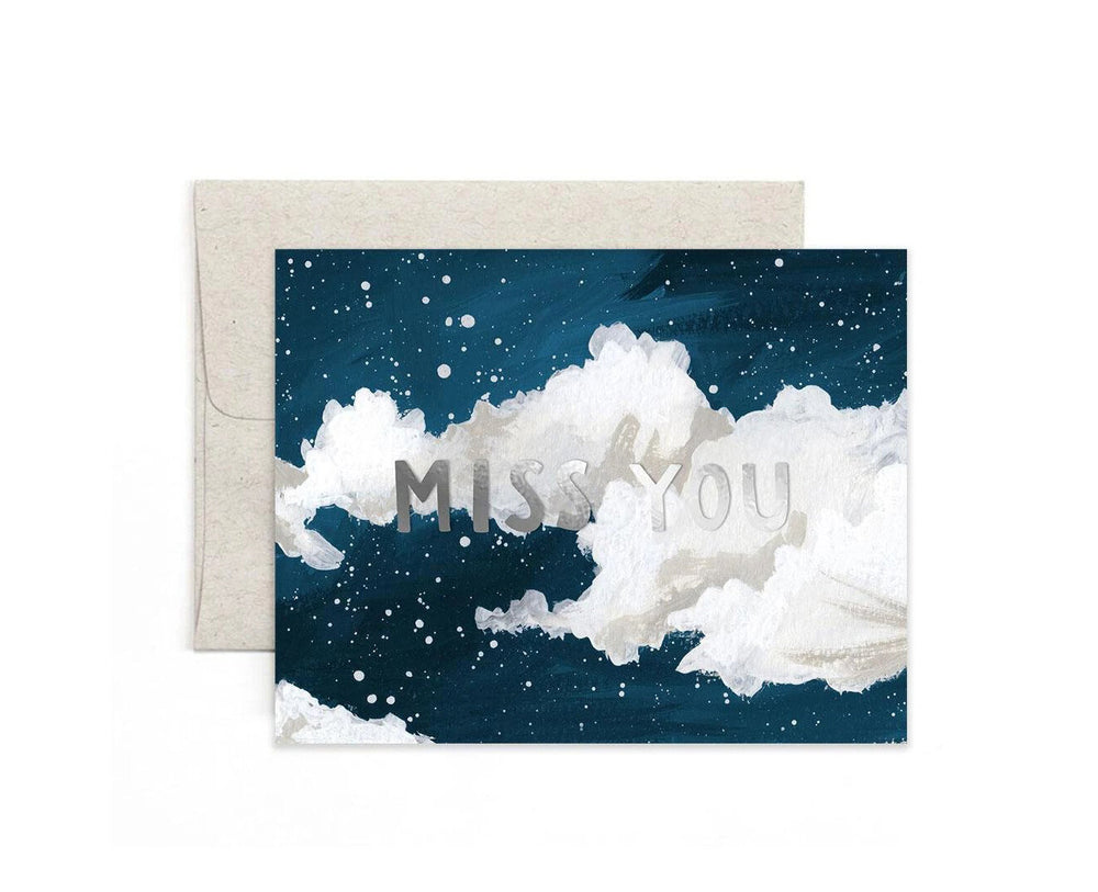 Miss You Clouds Card