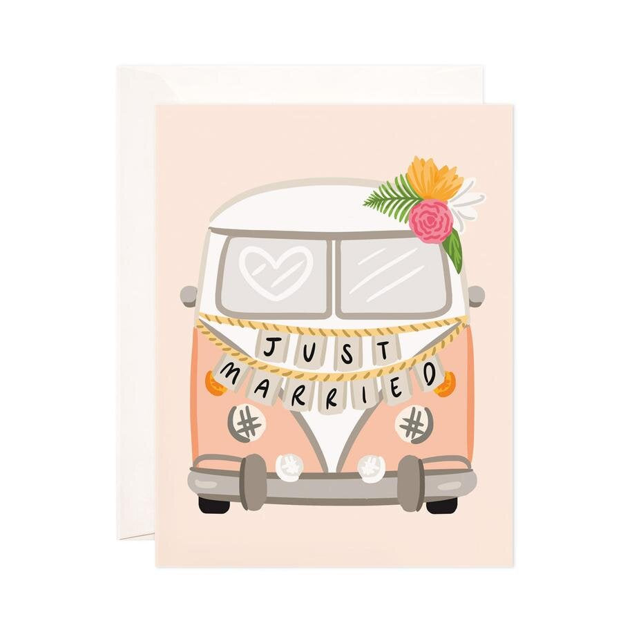 Just Married Getaway Van Card
