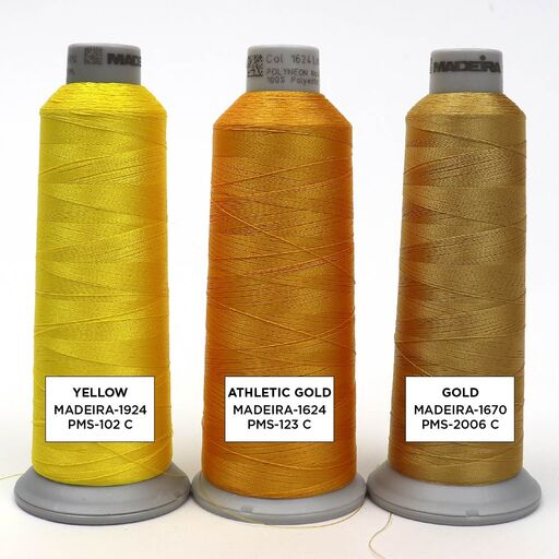 Yellow and Gold Embroidery Thread Color Options
