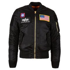 Alpha Industries Men's Black MA-1 Flex Slim Flight Jacket