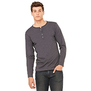 A man with an olive green corporate Bella + Canvas henley shirt in front of a white background