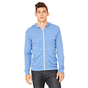 A man in a light blue custom Bella + Canvas full-zip hoodie in front of a white background